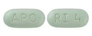 Image of light green pill imprinted APO / RI 4