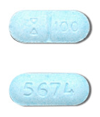 Image of light blue pill imprinted (Symbol) 100 / 5674