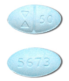 Image of light blue pill imprinted (Symbol) 50 / 5673