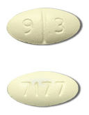 Image of light yellow pill imprinted 93 / 7177