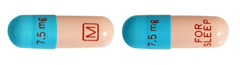 Image of blue and pink pill imprinted 7.5 mg M (Boxed) / 7.5 mg FOR SLEEP
