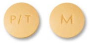Image of yellow pill imprinted P/T / M