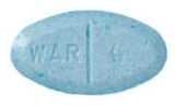 Image of blue pill imprinted WAR 4